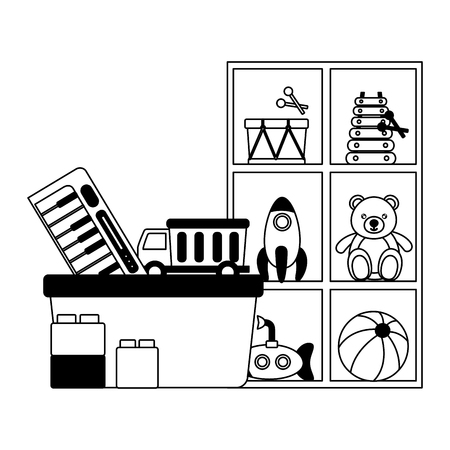 kids toys shelf bucket bear rocket drum submarine truck blocks vector illustration