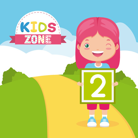 girl holding number board in the park road - kids zone vector illustration Standard-Bild - 122978934