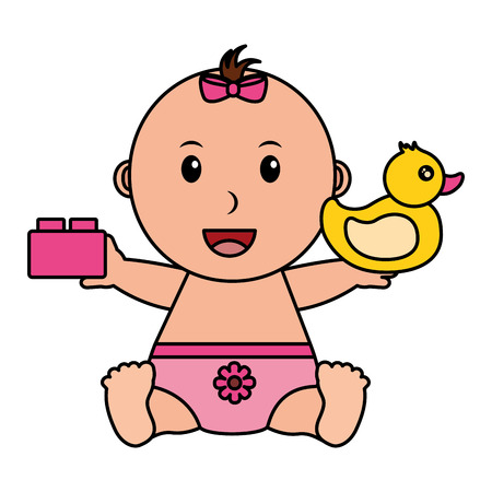 baby girl with duck and block toys vector illustration