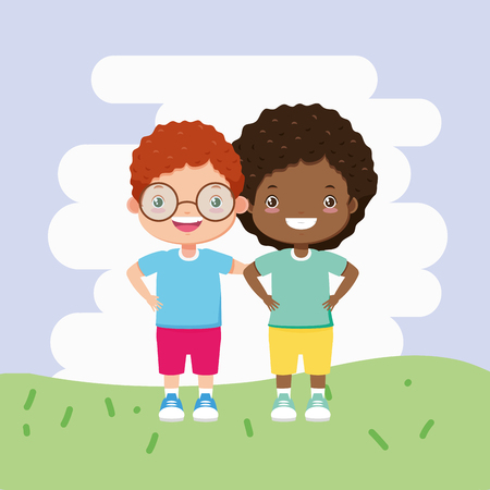 boy and girl in the outdoors kids zone vector illustration