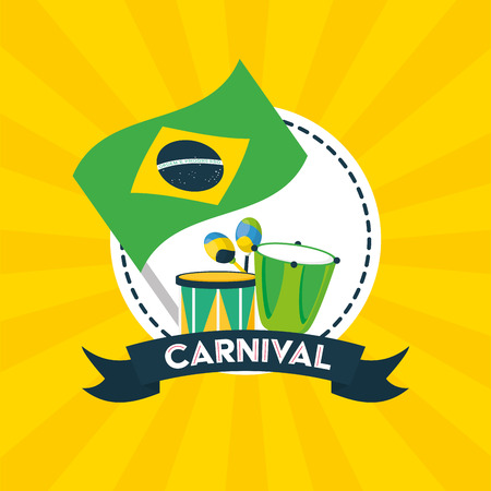 drums maracas and flag musical brazil carnival festival vector illustration