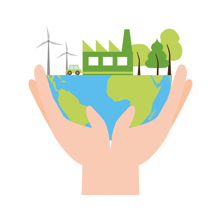 hands holding planet environment ecology earth day vector illustration 일러스트