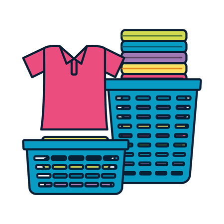 laundry baskets spring cleaning tools vector illustration Çizim