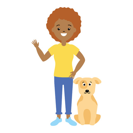 woman and dog pet animals vector illustration