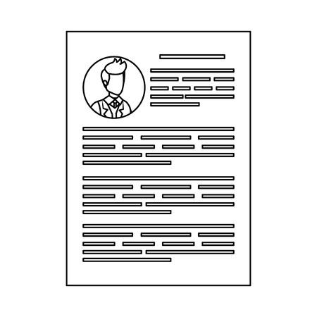 male curriculum vitae document vector illustration design
