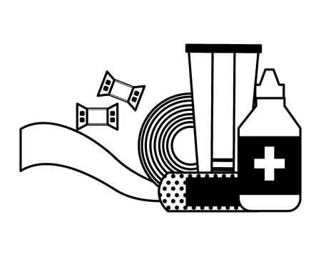 health medicine equipment dropper tube bandage and plaster vector illustration