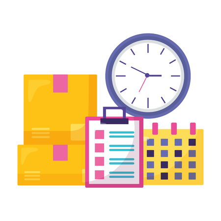 cardboard boxes clock clipboard calendar time fast delivery vector illustration