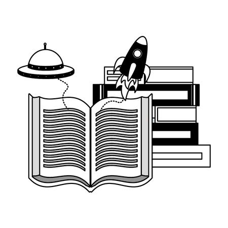 Journée mondiale du livre fantasy fiction travel vector illustration