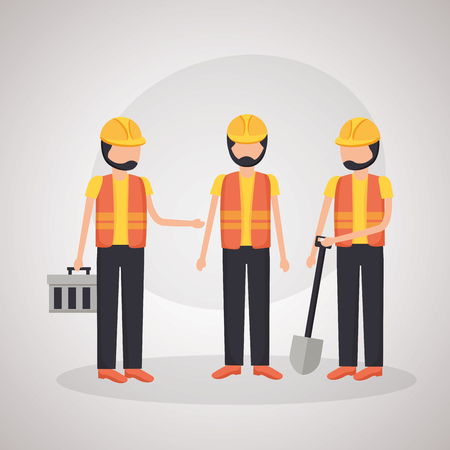 workers construction shovel toolbox equipment vector illustration