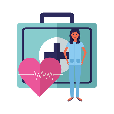 medical people staff medical suitcase heartbeat vector illustration vector illustration