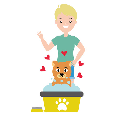 man pet grooming hygiene care vector illustration