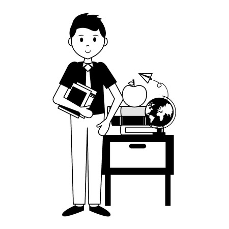 man with school globe book desk apple teachers day card vector illustration