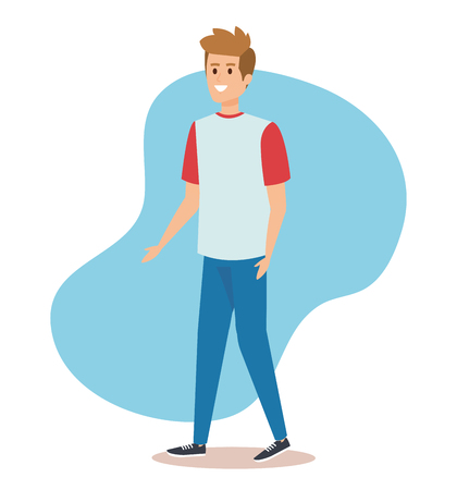 nice boy with casual clothes and hairstyle vector illustration