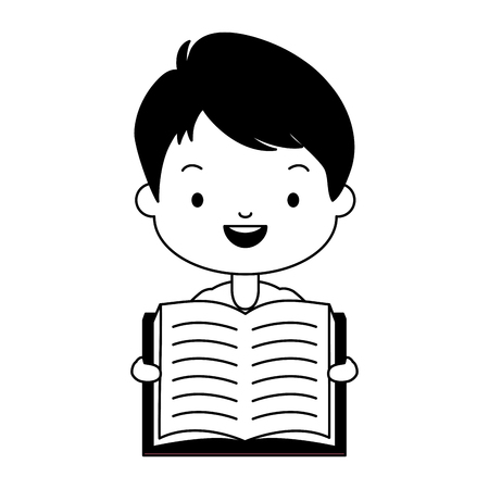 boy holding textbook - world book day vector illustration Stockfoto - 122932277