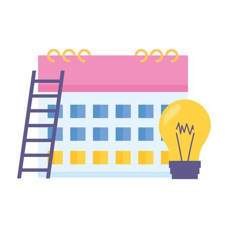 business calendar bulb stairs white background Standard-Bild - 122933922