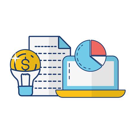 laptop bulb money report online payment vector illustration Çizim