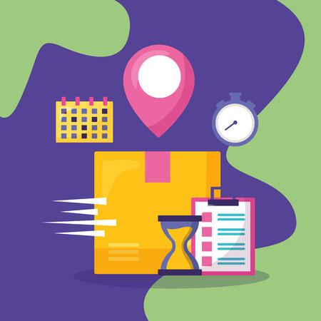 box calendar clock navigation pointer fast delivery business vector illustration Illustration