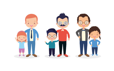 happy fathers day set men with kids vector illustration