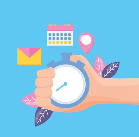 hand holding stopwatch time on blue background vector illustration Vektorové ilustrace