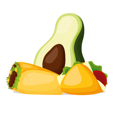 avocado burrito taco mexican food vector illustration