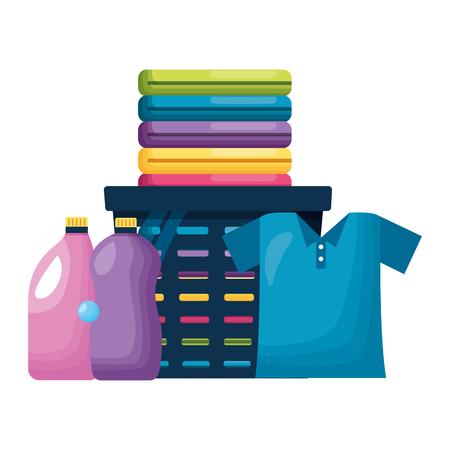 laundry bottles detergent spring cleaning tools vector illustration Illustration