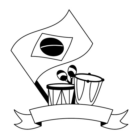 drums maracas and flag musical brazil carnival festival vector illustration
