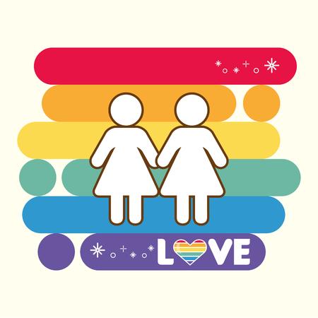 couple colors rainbow pride love vector illustration
