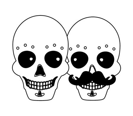 catrina skull flower character vector illustration design vector illustration Standard-Bild - 122947439
