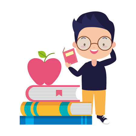 boy textbooks and apple - world book day vector illustration
