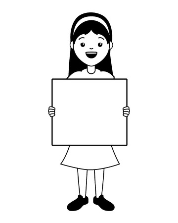 young woman with blank board vector illustration Ilustracja