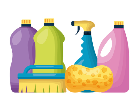 bottles brush sponge spring cleaning tools vector illustration Illustration
