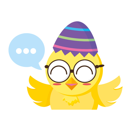cute little chick with sheel egg broken and speech bubble vector illustration design Archivio Fotografico - 122982661