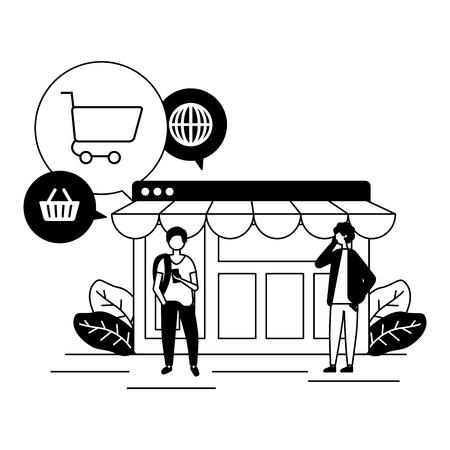 people mobile website shopping online vector illustration Stock Vector - 122982683