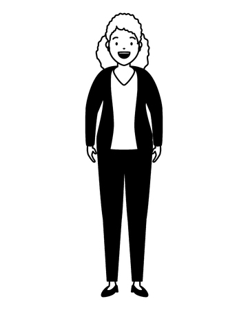 woman standing character on white background vector illustration Standard-Bild - 122956426