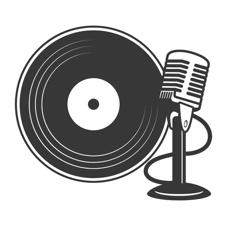 microphone and vinyl karaoke music vector illustration 向量圖像