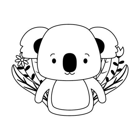 cute koala cartoon flower leaves vector illustration design