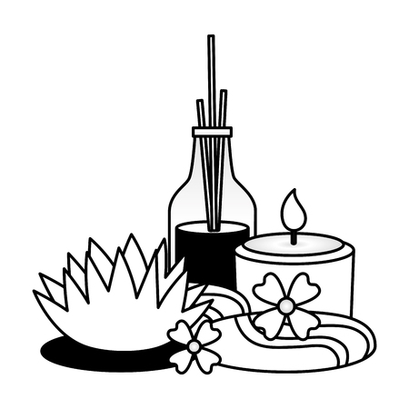 aromatherapy sticks candle flower spa treatment therapy vector illustration 스톡 콘텐츠 - 122969010