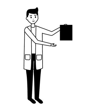 medical man practitioner character staff vector illustration