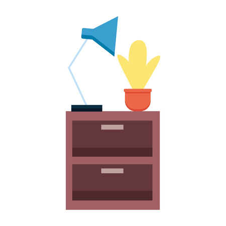 table drawers potted plant lamp decoration vector illustration