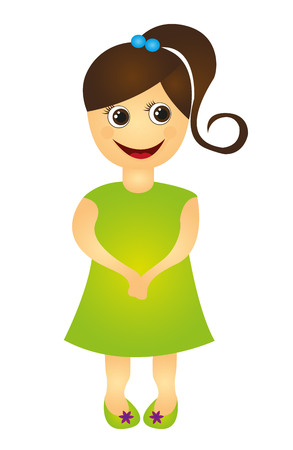 child girl cartoon isolated over white backgrond. vector