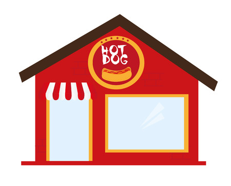 hot dog restaurant cartoon isolated over white backgroud. vector Banco de Imagens - 122984267