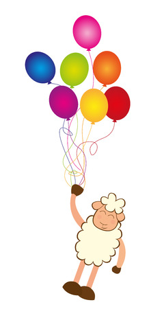 colorful balloons with sheep isolated over white background. vector Banque d'images - 122984270