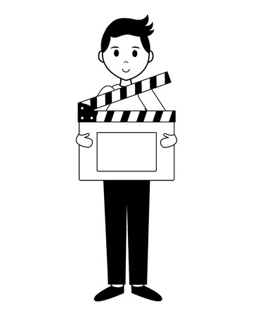 man film production clapboard movie vector illustration