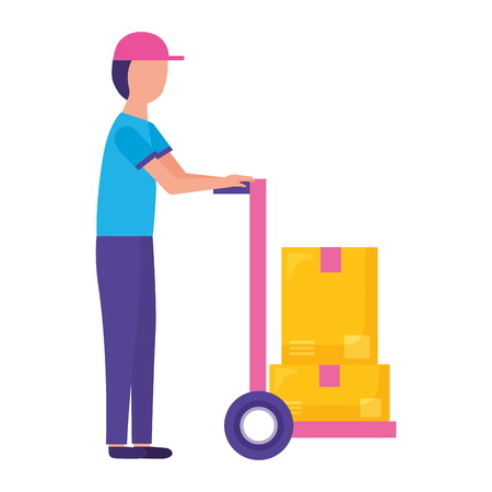 man with handcart boxes fast delivery vector illustration