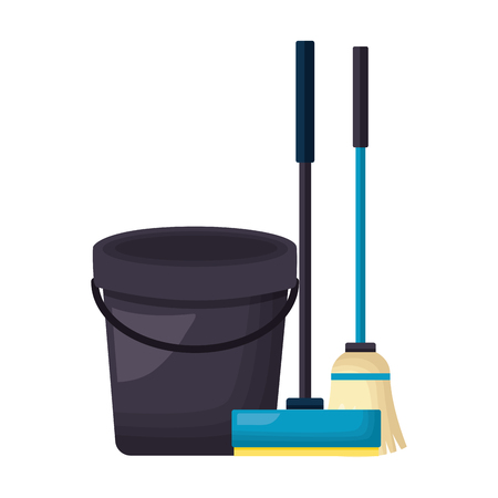 bucket broom spring cleaning tools vector illustration