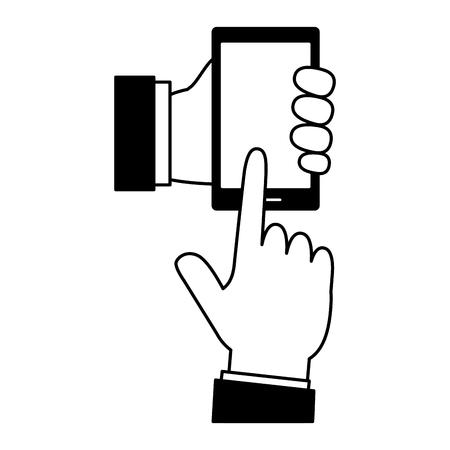 hands using smarphone device vector illustration design Illustration