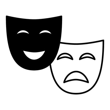 Máscara de teatro comedia dramática sobre fondo blanco ilustración vectorial