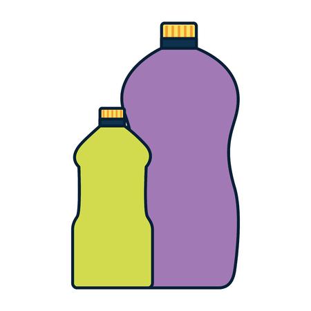 detergent bottles tool cleaning on white background vector illustration Çizim