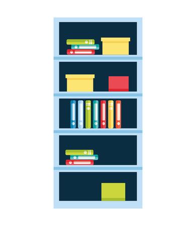 bookshelf furniture books on white background vector illustration