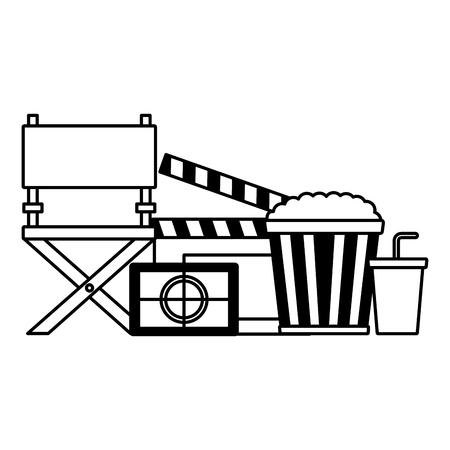 clapboard chair screen pop corn and soda film movie vector illustration